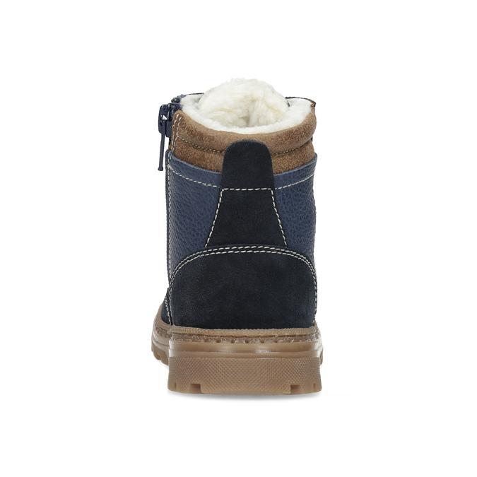 Granatowe skórzane obuwie dziecięce na zimę mini-b, niebieski, 294-9601 - 15