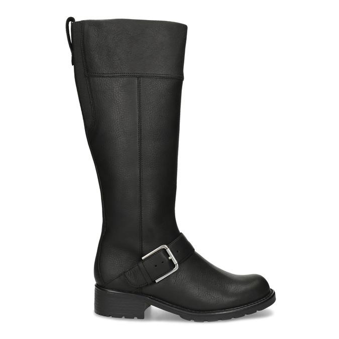 Czarne kozaki damskie zklamrami clarks, czarny, 696-6087 - 19