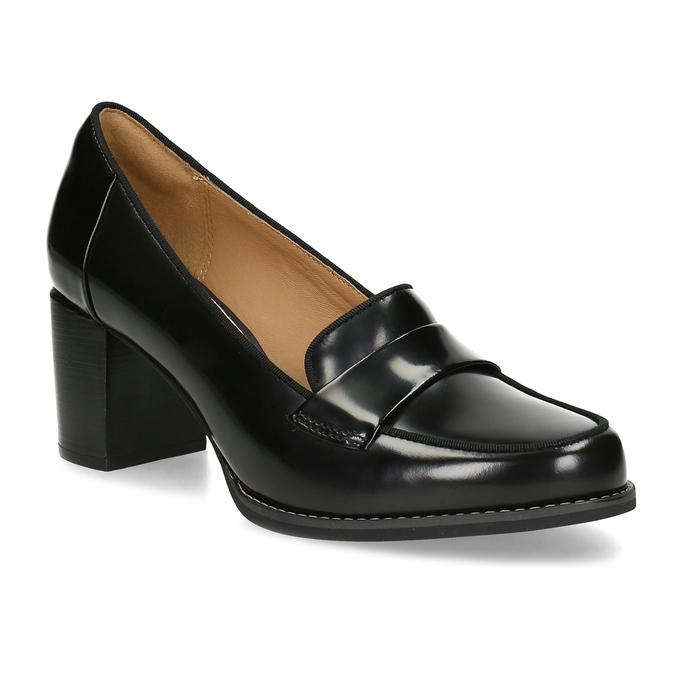 Czarne skórzane loafersy na obcasach clarks, czarny, 726-6070 - 13