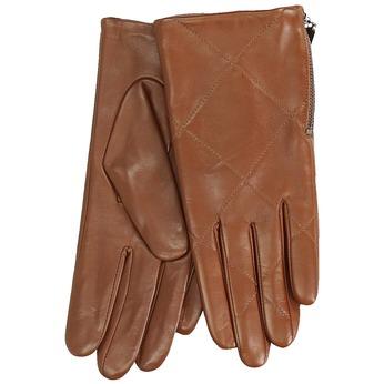 Brązowe pikowane rękawiczki damskie ze skóry bata, brązowy, 904-3108 - 13