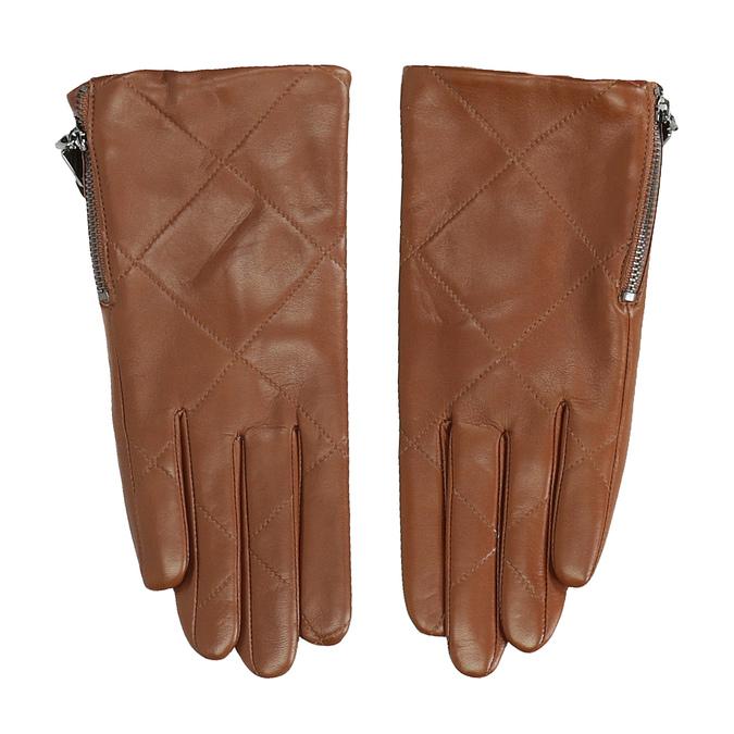 Brązowe pikowane rękawiczki damskie ze skóry bata, brązowy, 904-3108 - 26