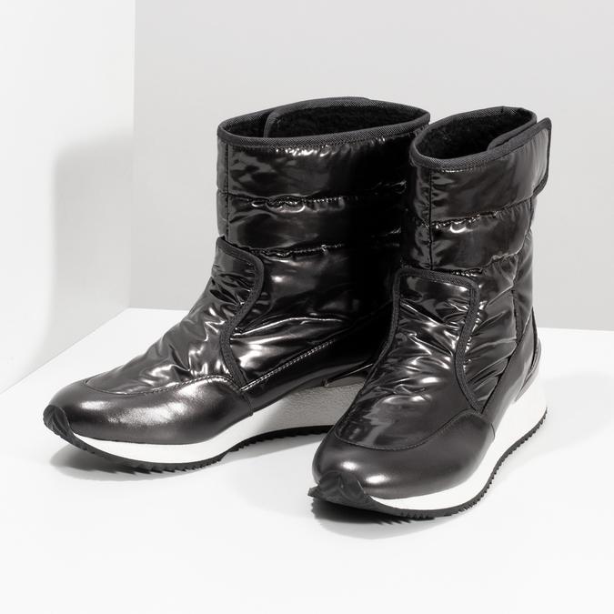 Damskie śniegowce metaliczne czarne bata, czarny, 599-6626 - 16