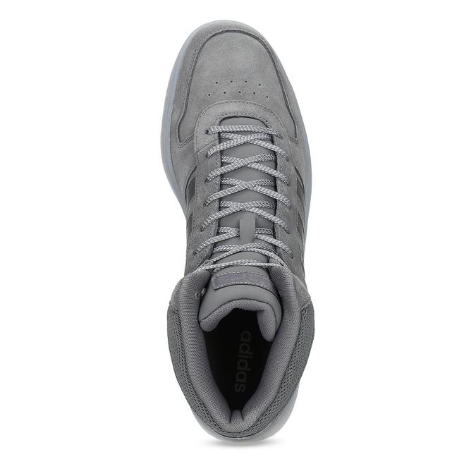 Szare skórzane trampki męskie za kostkę adidas, szary, 803-2118 - 17