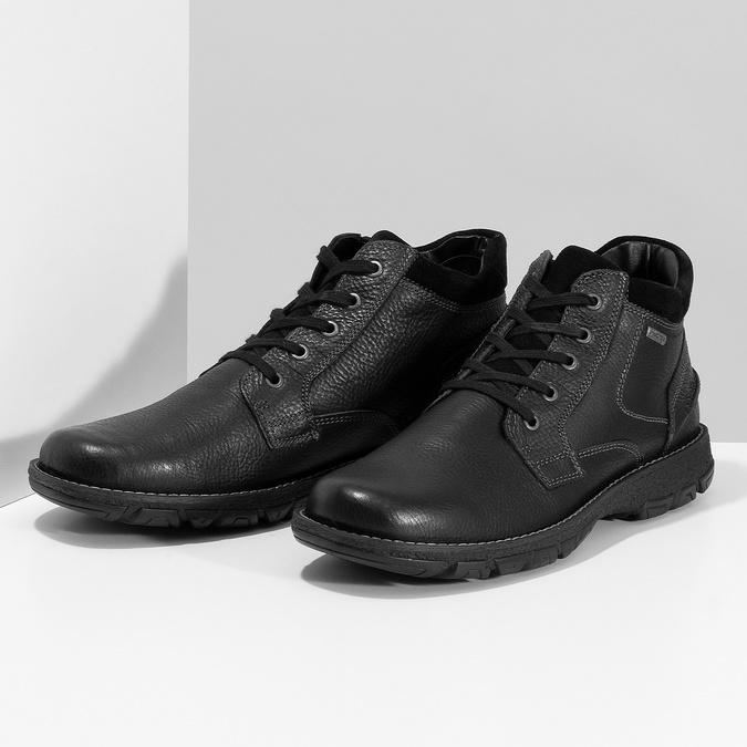 Zimowe skórzane obuwie męskie bata, czarny, 894-6715 - 16