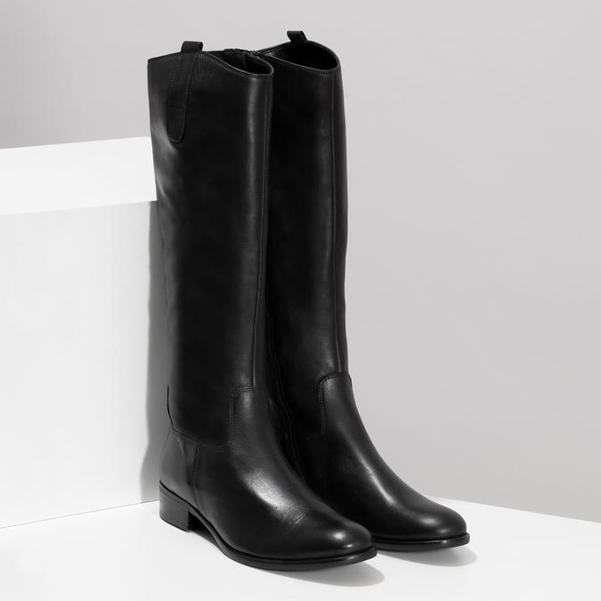 Czarne skórzane kozaki damskie gabor, czarny, 694-6179 - 26