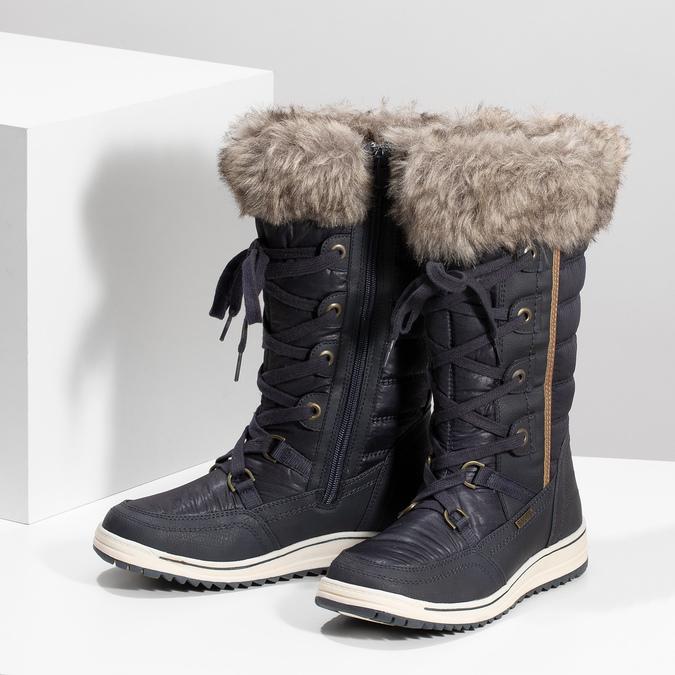 Śniegowce damskie zfuterkiem bata, niebieski, 599-9620 - 16