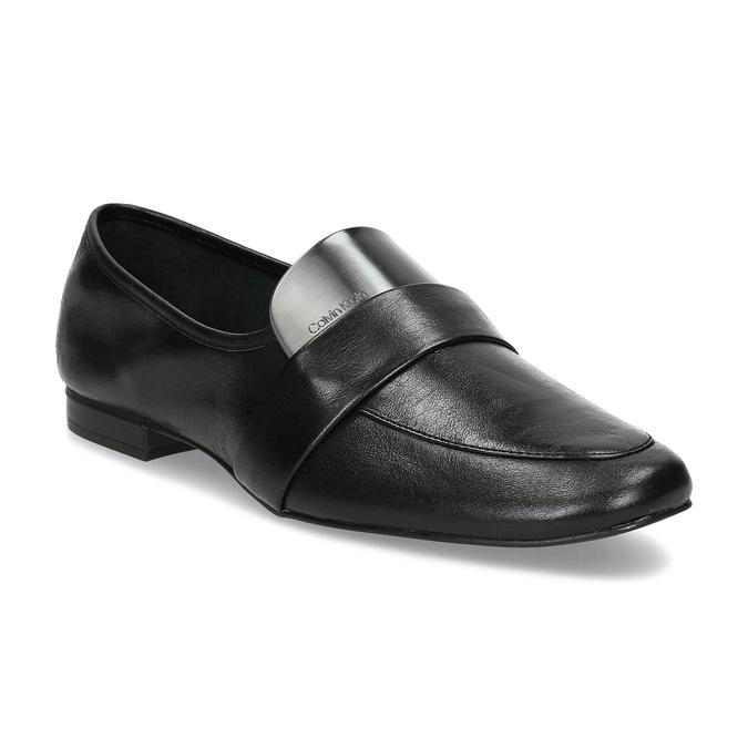 Czarne skórzane loafersy damskie calvin-klein, czarny, 514-6075 - 13