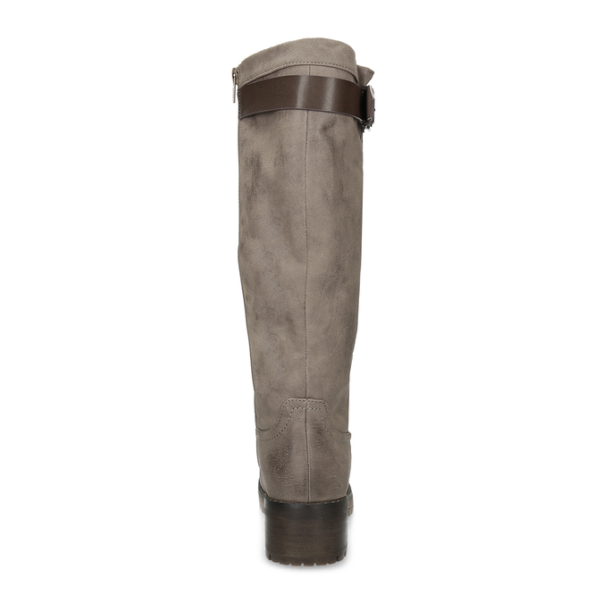 Beżowe kozaki damskie zfuterkiem bata, brązowy, 691-3643 - 15