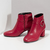 Czerwone skórzane botki zklamrami bata, czerwony, 794-5608 - 16