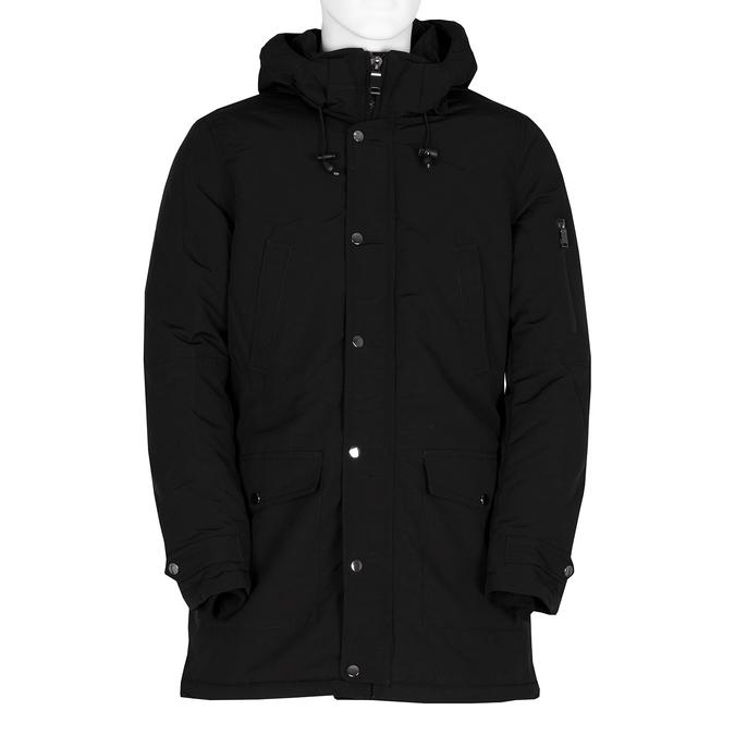 Długa czarna kurtka męska zkapturem bata, czarny, 979-6366 - 13