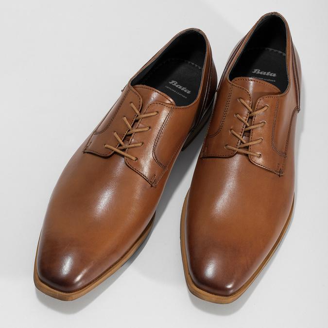 Brązowe skórzane półbuty męskie bata, brązowy, 826-3615 - 16
