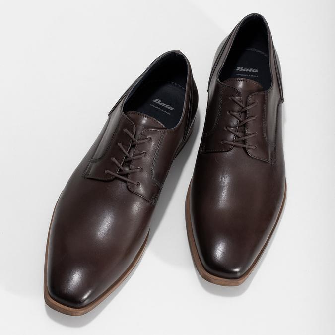 Ciemnobrązowe skórzane półbuty męskie bata, brązowy, 826-4615 - 16