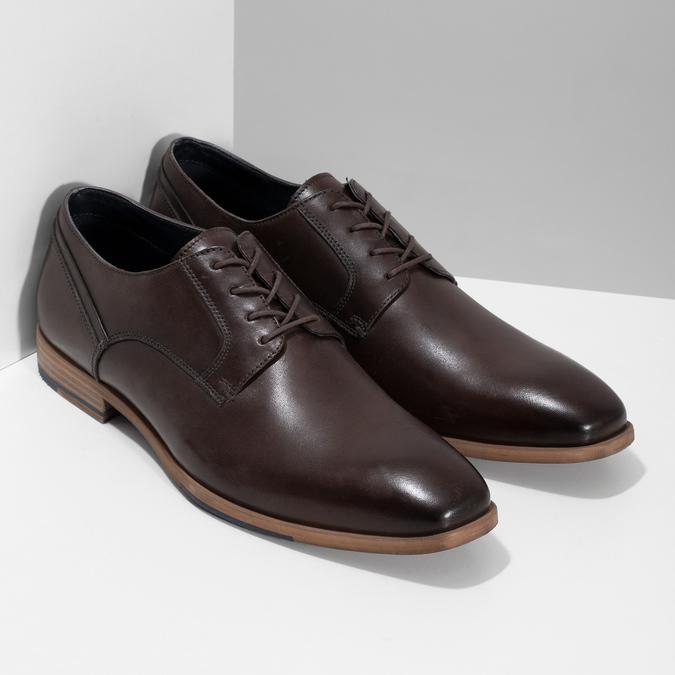 Ciemnobrązowe skórzane półbuty męskie bata, brązowy, 826-4615 - 26