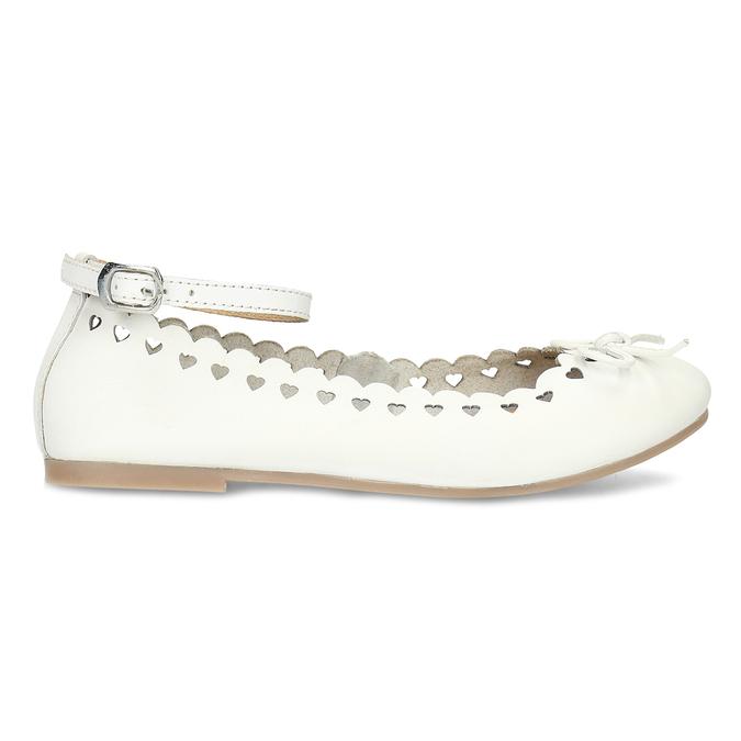 Białe skórzane baleriny dziewczęce mini-b, biały, 324-1157 - 19