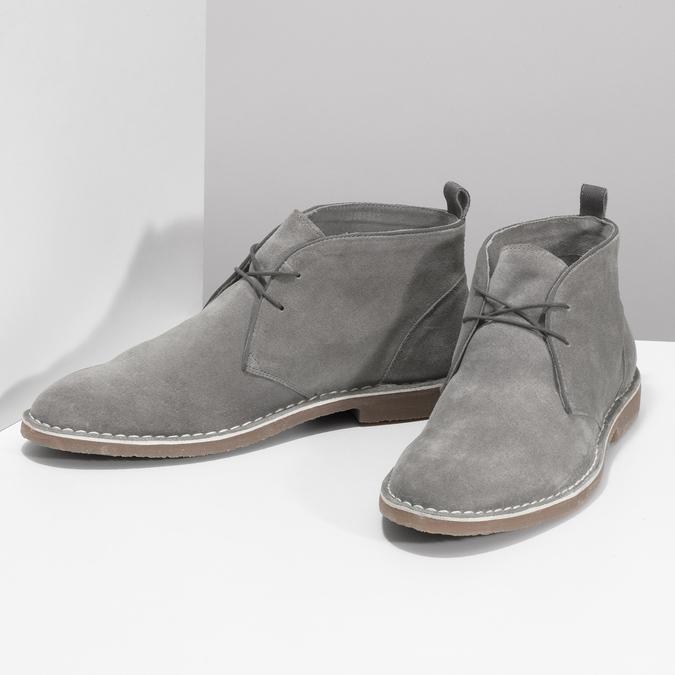 Szare skórzane obuwie męskie typu desert boots bata, szary, 823-8655 - 16