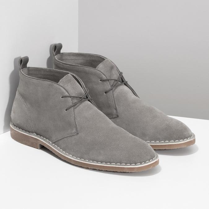 Szare skórzane obuwie męskie typu desert boots bata, szary, 823-8655 - 26