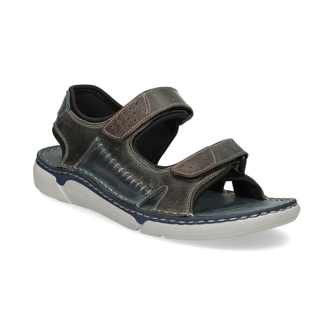 Beżowe skórzane sandały męskie na rzepy weinbrenner, brązowy, 866-2644 - 13